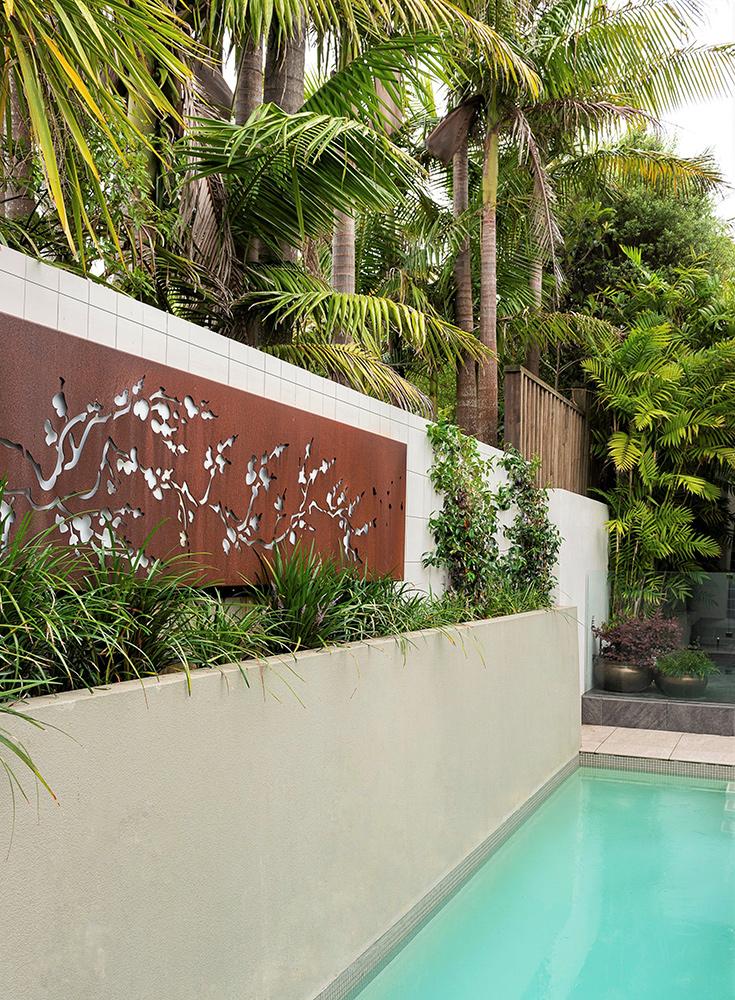 Poolside landscape garden design